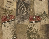 Instant Download Digital Printable Collage Sheet Gift Tag Set - Nature's Eloquence