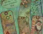 Instant Download Digital Printable Gift Tag Kit - Christmas, Colors of Christmas Blues