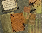 Digital Collage Sheet - ATC ACEO 2.5 x 3.5 size - Halloween - Halloweeny Backgrounds Set 1