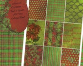 Digital Collage Sheet - ATC ACEO 2.5 x 3.5 size - Christmas - Colors of Christmas, Red and Green Backgrounds Set 1