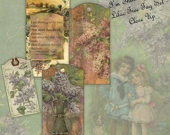Instant Download Digital Gift Tag Kit Collage Sheet - I'm Thinking of the Lilac Tree