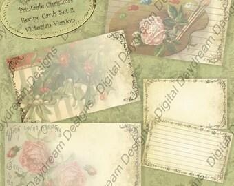 3x5 Victorian Christmas Printable Recipe Card Set Gift Tag Set Instant Download Digital Printable Collage Sheet Scrapbooking Vintage Images