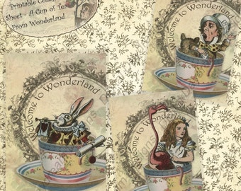 Instant Download Digital Printable Alice In Wonderland Collage Sheet ATC Size Cards or Gift Tag Set - A Cup of Tea From Wonderland