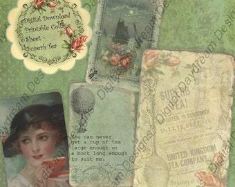 Printable Digital Collage Sheet Digital Download Superb Tea ATC Size Cards or Gift Tag Set - Superb Tea Tea Time Clip Art Collage Sheets
