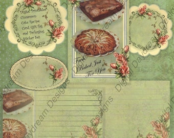 Instant Download Digital Printable Sticker, Label, Recipe Card  DIY Kit  - Gifts from the Kitchen Cinnamon Cake Packaging Set