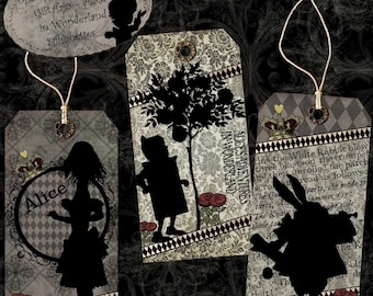 Alice in Wonderland Printable Gift Tags Digital Download - Silhouettes