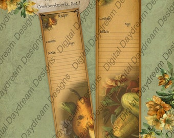 Printable Bookmark Set Digital Download DIY Kit Cook's Gift Bookmarks Set 1 Instant Download  Kitchen Printables