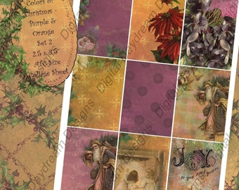 Instant Download Digital Collage Sheet - ATC ACEO 2.5 x 3.5 size - Christmas - Colors of Christmas, Purples and oranges Backgrounds Set 2