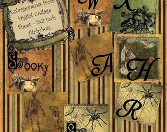 Digital Collage Sheet 2 x 2 size - Halloween Alphabet Set 1