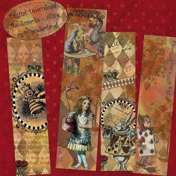 Digital Download Printable Collage Sheet - Bookmarks, 1.5 x 6, Alice in Wonderland, jpg or pdf