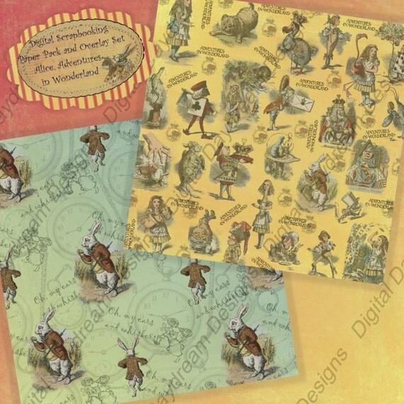 Instant Download Scrapbooking Overlay and Background Paper Pack - Alice Adventures in Wonderland