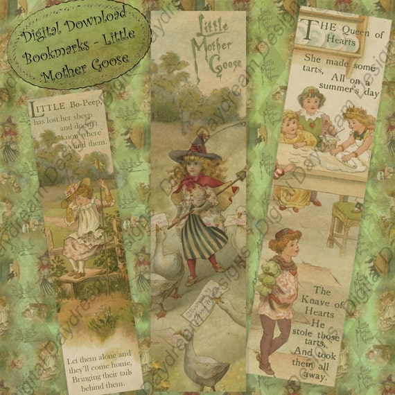 Instant Download Printable  Bookmarks, Printable Party Favors  Little Mother Goose, Digital DIY Kit  Collage Sheet Digital Download