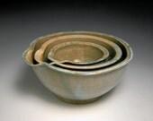 blue grey glazed nesting bowls