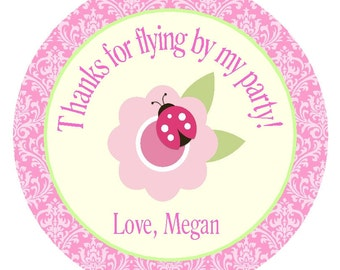 Ladybug FavorTags/ Party Labels/Stickers/Set of 12/Girls Birthday Party Circles/Matching Items Available