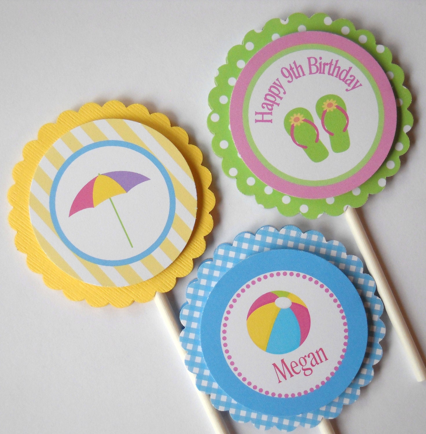 POOL PARTY CUPCAKE Toppers/ Swim Party Summer Personalized