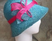 Green straw hat for the summer heat CLEARANCE ITEM