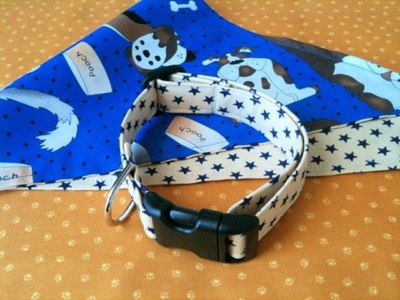 Run With The Big Dogs Bandana and Collar Set Sz. Small