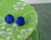 Numi earstuds in Cobalt Blue and sterling silver