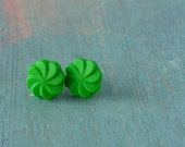 Grass green  earstuds with sterling silver posts