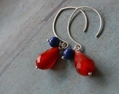 Rouge et Bleu teardrop earrings - sterling silver - cobalt blue jade - lipstick red glass
