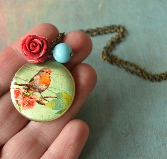 Be my Bird locket  necklace in brass