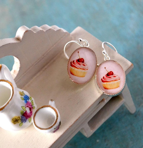 be my cupcake - brass bezels hanging on sterling silver hooks