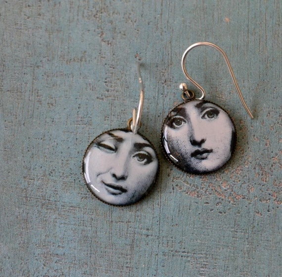 Wink - two  funny faces hanging on sterling silver hooks