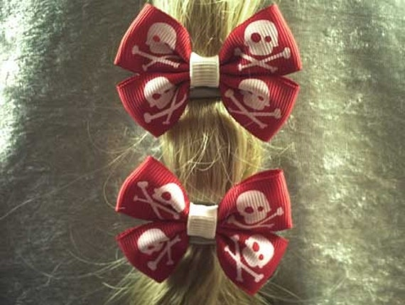 Red and White Pirate Ponytail Bows