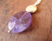 SALE 20% Off - AMETHYST // Sterling siilver pendant with natural amethyst bead
