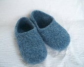 Felted Blue Wool Slippers Made to order in your size slippers wool shoes custom felted wool womens wool slippers house shoes wool felted