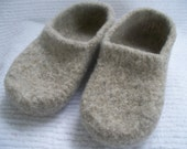 Wool shoes in Oatmeal wool slippers womens custom slippers felted wool slippers free shipping