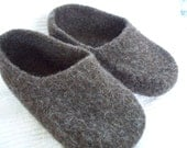 Felted Brown Wool Slippers wool shoes custom order felted wool slippers free shipping