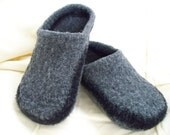 Felted Wool Slippers grey black wool shoes slippers custom order felted wool fulled wool winter