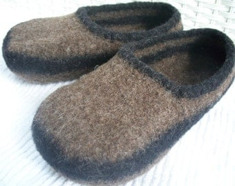 felted wool slippers, wool slippers, brown wool slippers, boiled wool slippers, mens slippers, womens slippers, womens felted wool slippers