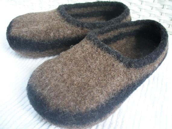 felted wool slippers, wool slippers, brown wool slippers, boiled wool slippers, mens slippers, womens slippers, womens felted wool slippers