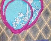 Bag The Essential Bag- Mist Blue Fuzzy Diamonds with Blue Satin
