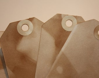 50 Tea Stained Tags with stained hole reinforcement