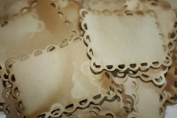 100 Tags 2 1/4 x 3 rectangle Lace Edge display Tag