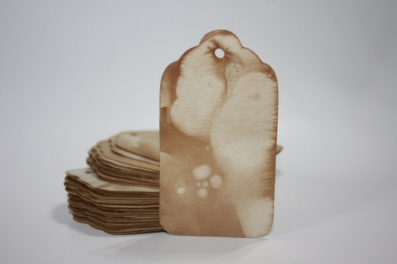 """2"""" tea stained tags SMALL Luggage Tags 2 inch Tea Stained Tags"""