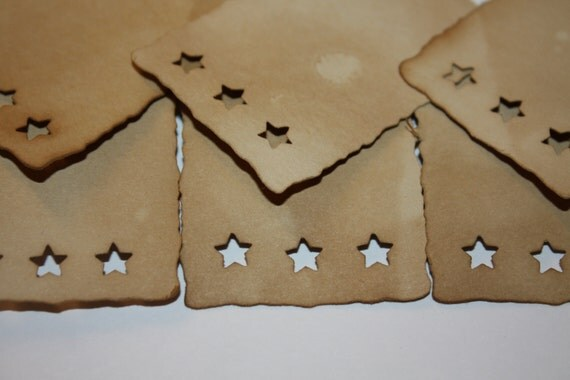 Price Tag Product Tag Seat Card 50 MEDIUM 1 1/2 x 2 1/4 Rectangle with Stars Tea Stained Tags