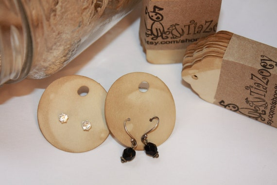 50 Earring Display Card Round Circle 1 1/2 Tea Stained Jewelry Hang Card