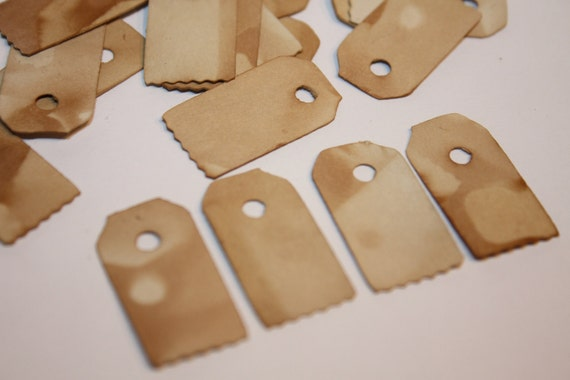200 Very Small Jewelry Size Tea Stained Tag with zig zag edge