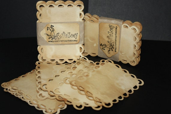 50 Extra large 3X4 Lace Edge Card Make Your Own Price Tag Table Seat Card Escort Card