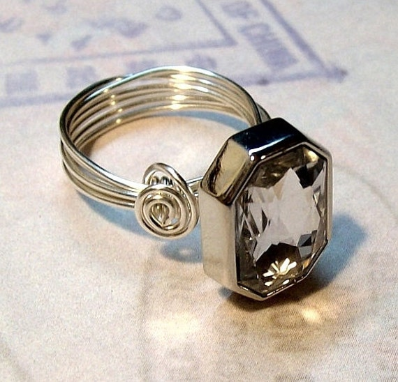 Diamonds Are a Girls Best Friend Wire Wrapped Button Ring