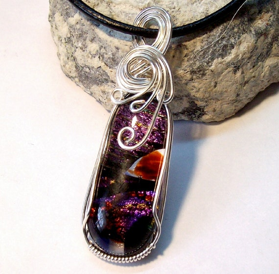 Wire Wrapped Necklace Dichroic Glass Pink Purple Black