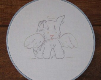 Vintage Look Angel Puppy Hand Embroidered Wall Hanging