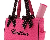 Diaper Bag Personalized Hot Pink Black Polka Dots Quilted Monogrammed Baby Changing Bag