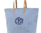 Personalized Tote Bag Jute Blue Burlap Large Monogrammed Wedding Bridesmaid