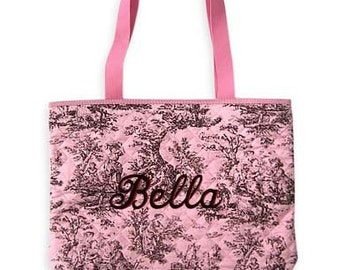 Personalized Tote Bag Pink Brown Toile Qiluted Monogrammed Wedding Dance Cheer
