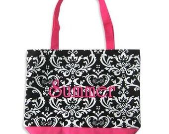 Personalized Tote Bag Damask Black Pink Monogrammed Wedding Dance